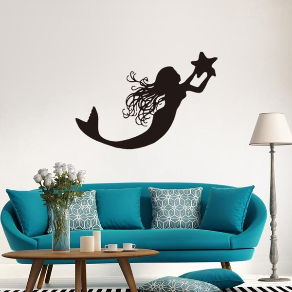 Cartoon Mermaid Wall Stickers PVC Self-adhesive Wallpapers Arts Murals Decals Can Removable Nursery Kid's Bedroom Decoration Free Shipping