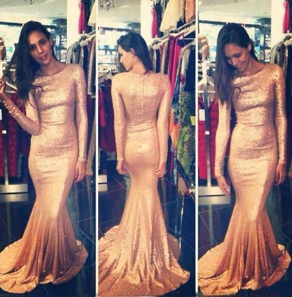 2018 Long Sleeve Mermaid Evening Dresses Rose Gold Sequins Bling Sweep Train Sexy Prom Dresses Custom Made EM5074