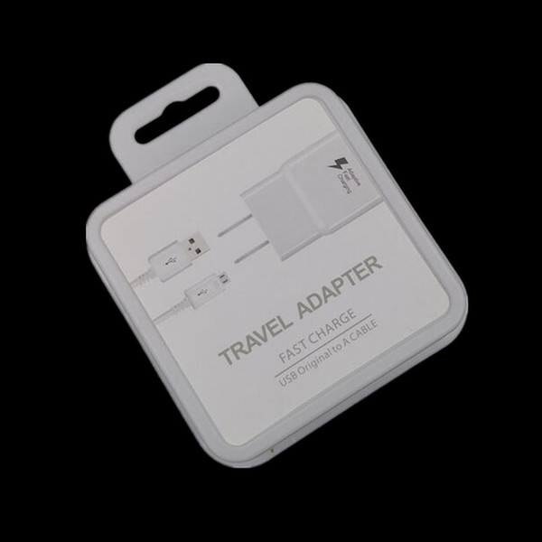 OEM Quality 2 in 1 adaptive Fast Charging US/EU Travel Wall Charger + 2A Micro Usb Cable For Samsung S6 S7 Edge with retail box