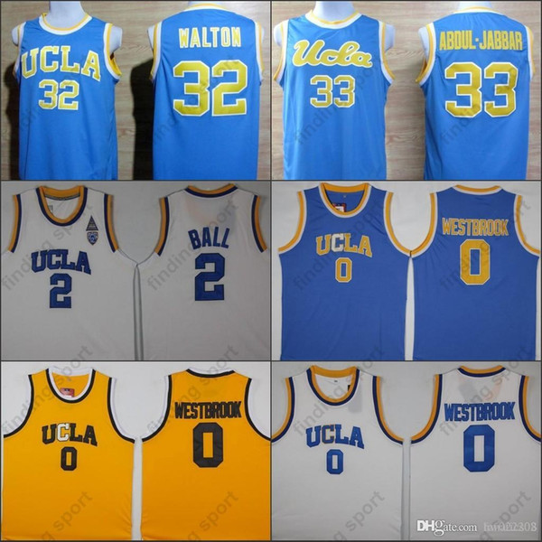 NCAA UCLA Bruins College Basketball Jersey Russell Westbrook Lonzo Ball Zach LaVine Kareem Abdul Jabbar Reggie Miller Bill Walton Kevin Love