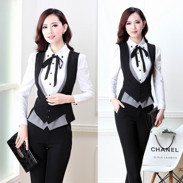 New 2018 Summer Autumn Fashion Pantsuits Women Suits with Pant and Top Sets Slim Formal Ladies Waistcoat Office Uniform Styles