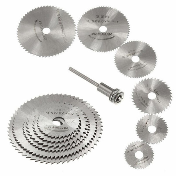 7pcs HSS Rotary Tools Mini Circular Saw Blades Cutting Discs Set High Quality Drill Mandrel Cutoff Cutter Power Tools Multitool