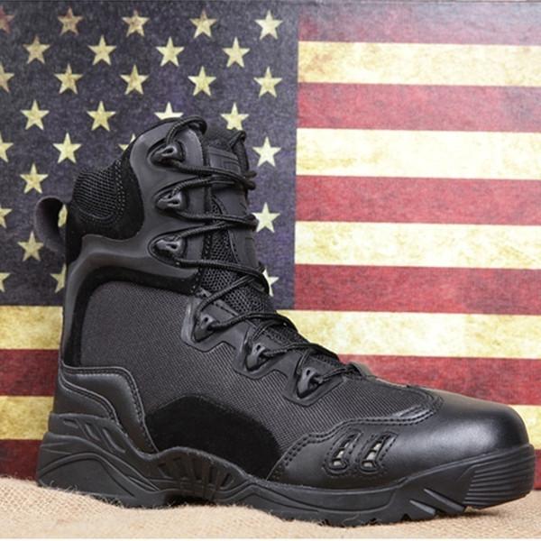 1000f001bb532 Hommes Tactique Militaire Armée Bottes Respirant En Cuir Maille Haut Haut  Casual Desert Chaussures de Travail