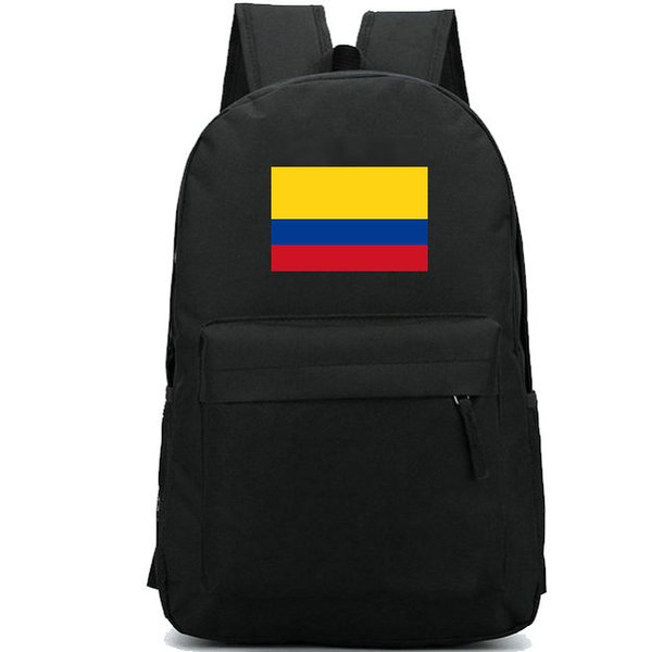Colombia flag backpack Yellow country day pack Blue red banner school bag Casual packsack Good rucksack Sport schoolbag Outdoor daypack