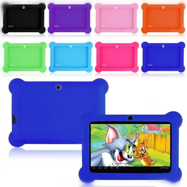 """Anti Dust Kids Child Soft Silicone Rubber Gel Case Cover For 7"""" 7 Inch Q88 Q8 A33 A23 Android Tablet pc MID Free shipping 200 colorful"""