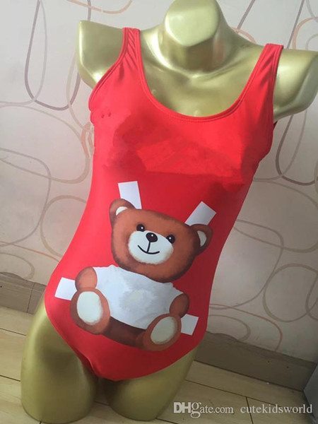 Summer Women red and black Color Cute Cartoon Bear Print Bikini Brand one piece swimsuit swimwear Printing Animal Swimsuit