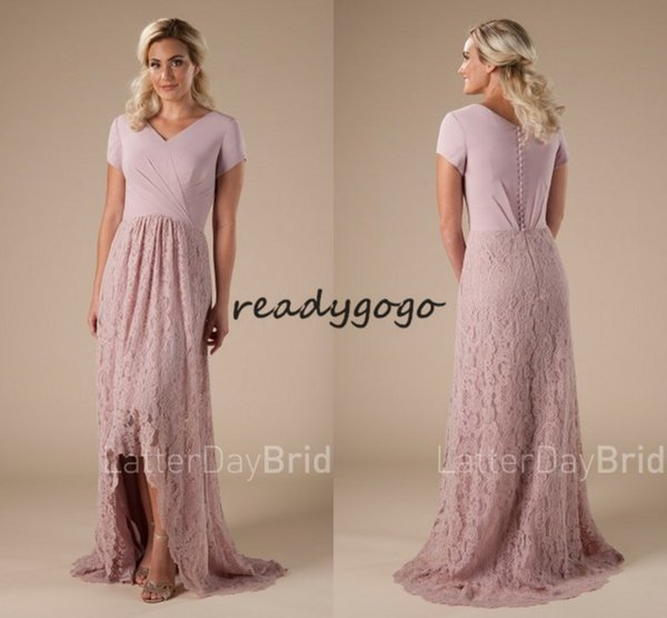 Lace High Low Country Long Bridesmaid Dresses with Sleeve 2018 Vintage Blush Pink Jewel Country Bohemian Junior Wedding Party Guest Gown