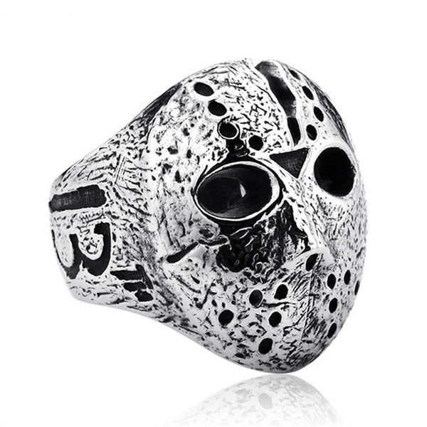 Black Friday Hockey Jason Mask SKull Rings Mens Stainless Steel Jewelry for Men Silver Halloween Jason Mask Ring Drop Shipping