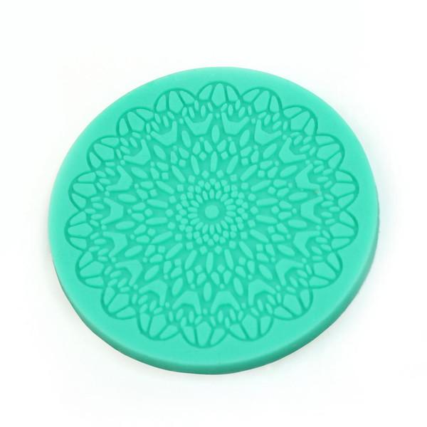Wholesale- Flower Pattern Lace Round Silicone Cake Mold Mat Fondant Cake DIY Decorations Kitchen Baking Tool