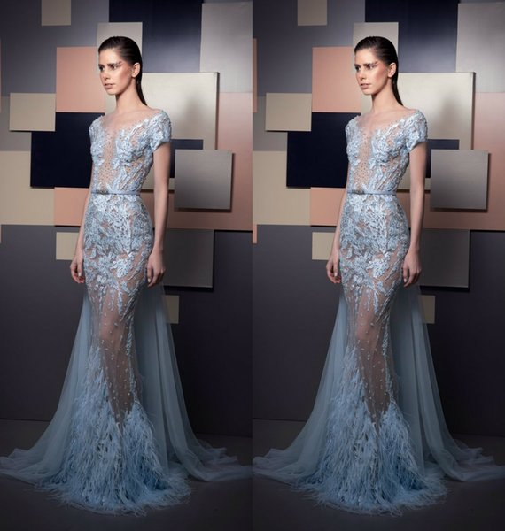2019 Ziad Nakad Blue Evening Dresses Luxury Feather Illusion Lace Appliques Beads Short Sleeves Mermaid Prom Dress Formal Party Gowns