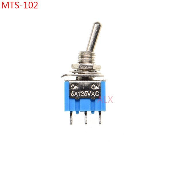 10 PCS AZUL MINI MTS-102 SPDT 3 PINOS ON-ON Interruptor de alavanca de alimentação Miniatura 6A / 125V 3A / 250 V MTS 102 MTS102