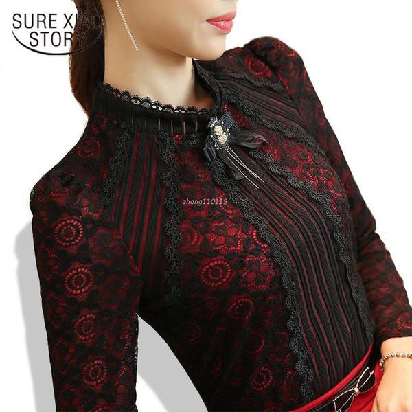 2018 Autumn Winter Fashion Lace Blouse Long Sleeve Slim Body Floral Lace Shirt Women Tops Elegant Plus Size Lace Top 801G 25