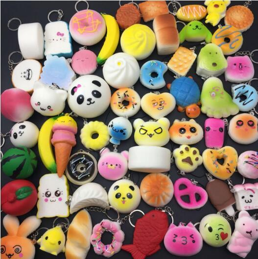 30pcs Styles Squishy Rilakkuma Donut Squishies Cute Phone Straps Slow Rising Squishies Jumbo bread Phone Charms Pendant Soft fruit kids toys