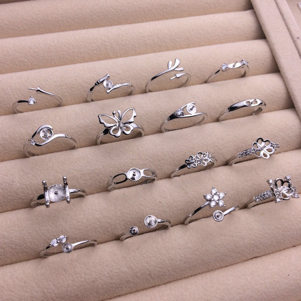 best selling Shiny 16 Styles Pearl Ring Settings 925 Silver Rings Settings DIY Ring for Women Suitable for Pearl 7-9mm Adjustable Size Fashion Jewelry
