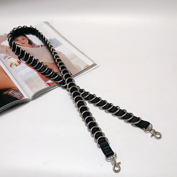 Bonne qualité tendance punk mode cuir pu boucle d'argent dames sac à main accessoires bandoulière ceinture sac pièces