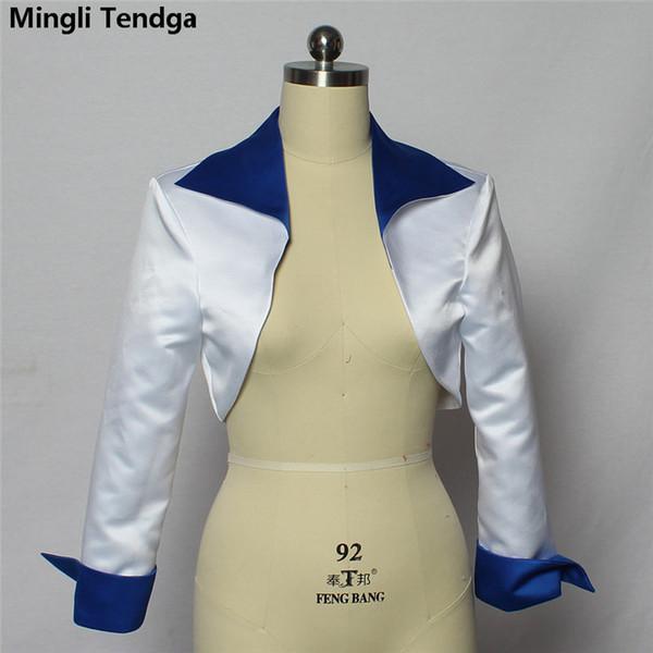 2018 High Quality Stain 3/4 Sleeve Bolero Wedding Bridal Bolero White/Blue Jacket Bridal Coat Wraps Jacket Mariage Mingli Tengda