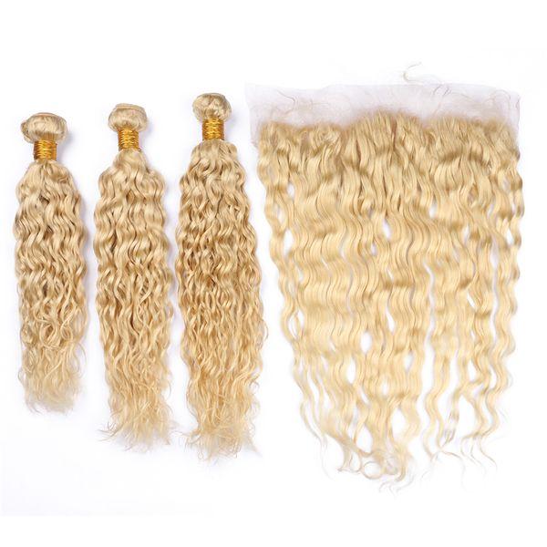 Блондинка 613 мокрые и волнистые цветные 613 волос ткет с фронтальной части воды волны уха до уха фронтальной 13x4 с волосами ткет