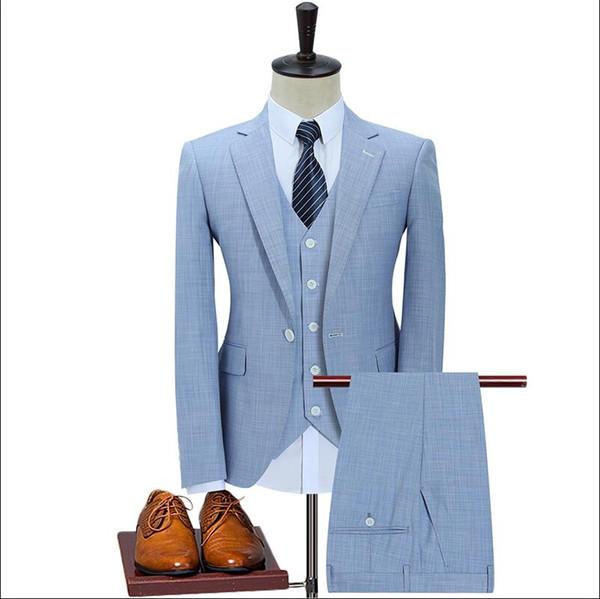 Marca Homens Ternos Brancos Blazers Casamento Slim Fit Negócios Smoking Formal Masculino Terno Do Noivo Do Noivo Khaki Mazarine Jacket + Calça + colete