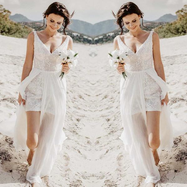 Modelos Vestidos De Noiva Sexy Praia Verão Rendas Vestidos De Casamento Para Dama De Honra Dama De Honra Boho Alta Baixa Vestidos De Noiva Ideias