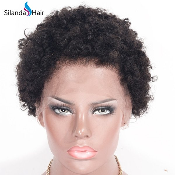 Silanda Hair Polular Natural Color #1B Afro Curly 10 Inch Brazilian Remy Human Hair Lace Front Full Lace Wigs For Black Women Free Shipping