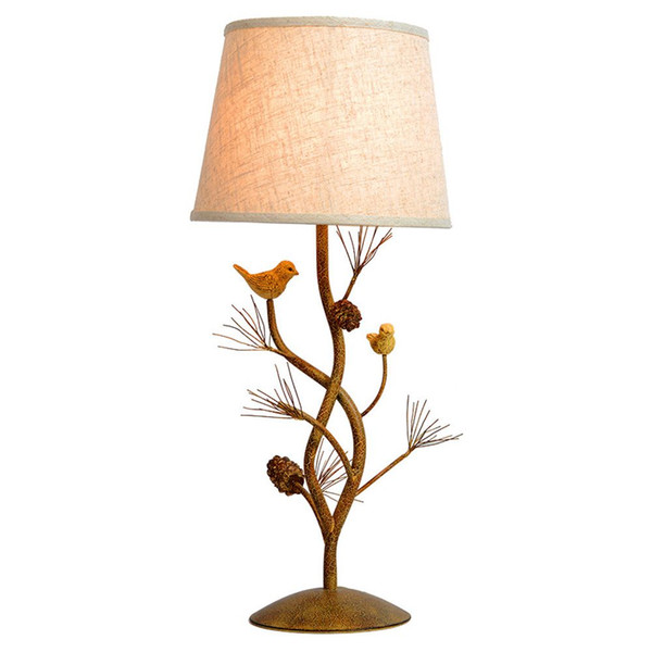 OOVOV Village Vintage Fabric Living Room Desk Lamp Iron Birds Study Room Table Lamps Bedroom Table Light