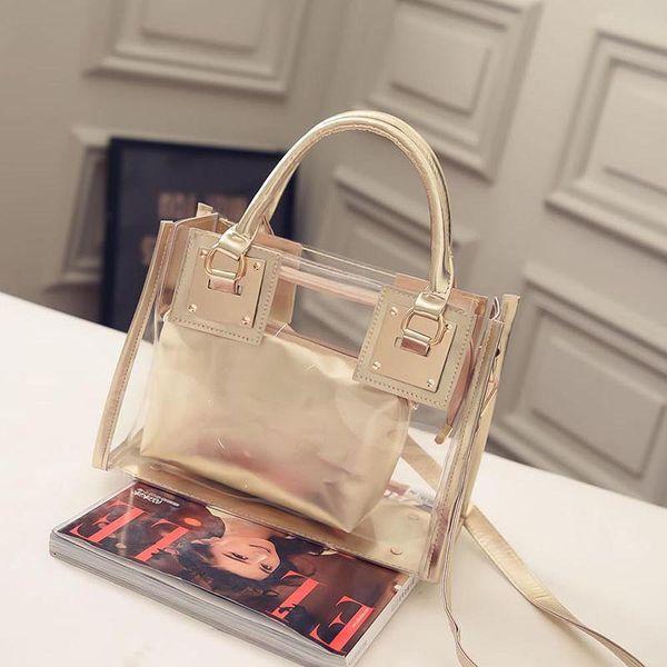 Neue Mode Frauen Handtaschen Mädchen Umhängetaschen Damen Umhängetasche Crossbody Taschen 2 Stück Sets Transparente Gelee Kristall Tasche Verbund Tasche