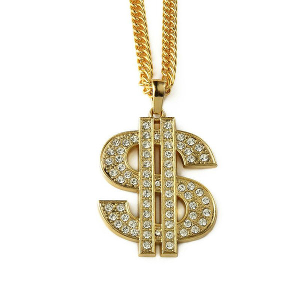 2018 Jewelry Pendants & Necklaces Dollars Pendant Necklace Gold $ Big Dollar Sign 90cm Long Chain Hip Hop Jewelry For Men Gift