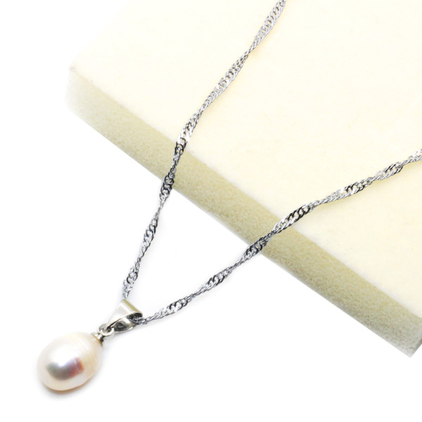 Fashion natural freshwater pearl pendant necklace 13-14mm oval pearl pendant feminine charm jewelry