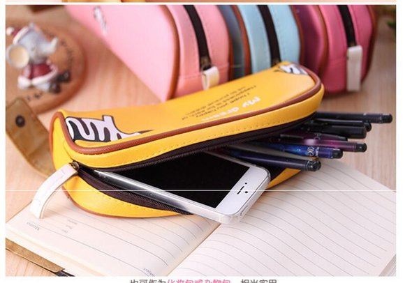 Wholesale Cheap Cute PU Leather Students Pencil Bags Cartoon Pencil Holder Desk Organizer Large Capacity Zipper Stationery pencil Box