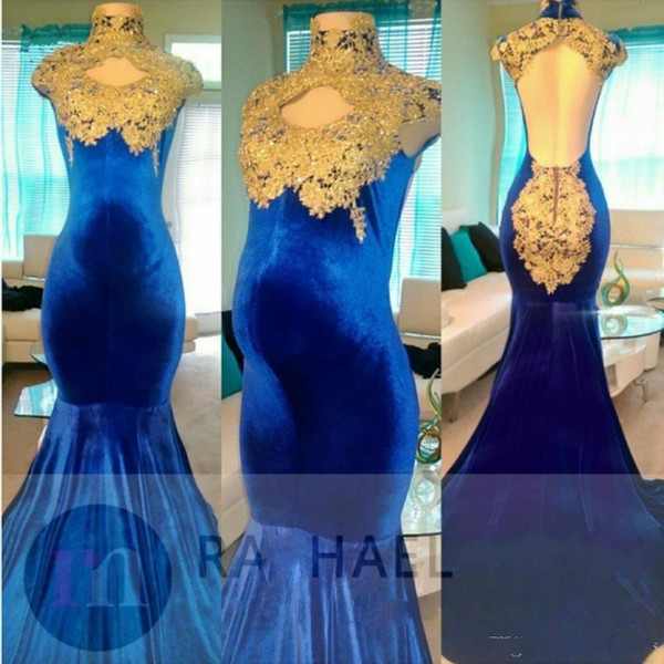 Sexy Royal Blue Velvet Pregnant Prom Dresses Evening Wear Lace Appliques Long Sweep Train Party Dress Maternity Gowns Cheap