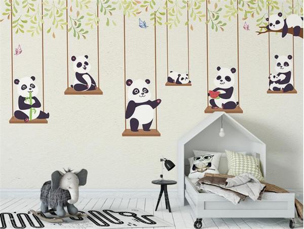Acheter 3d Personnalise De Bande Dessinee Peinture Papier Peint Panda De Bande Dessinee Enfants Chambre Fond D Ecran Papier Peint Impermeable A