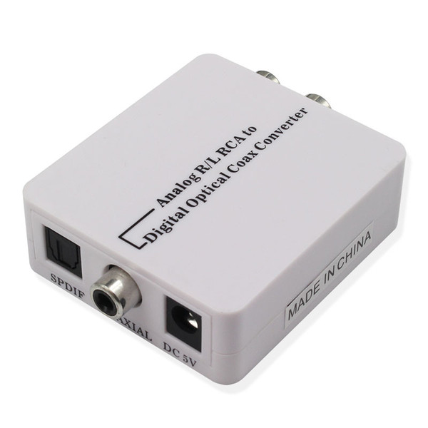 high quality Analog R/L RCA to digital optical coaxial Converter A2D Optic Coaxial RCA Toslink Signal Audio Converter Adaptor