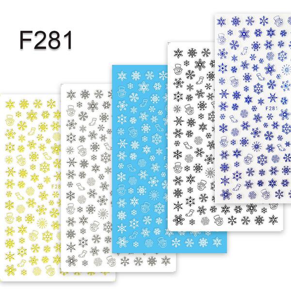 esigner stickers 1 Sheets s Xmas Designs 3D Snow Flower Nail Sticker Azul / Negro / Blanco / Plata / Oro Adhesivo Estampado de uñas Decoración de CHF28 ...