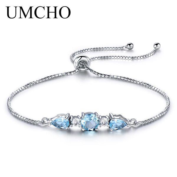 UMCHO Solid 925 Sterling Silver Bracelets & Bangles For Women Natural Sky Blue Topaz Adjustable Tennis Bracelet Fine Jewelry New