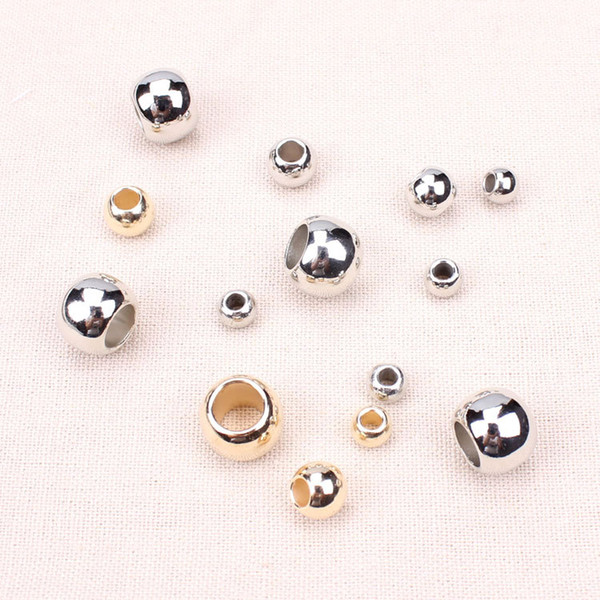 600 pcs/set Outer Dia 4mm,6mm,8mm,10mm,12mm Gold / Rhodium Plastic CCB Big Hole Beads For Jewelry Making