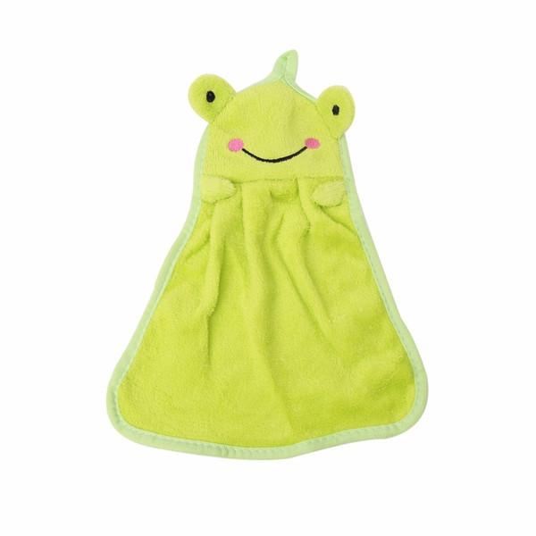 1Pc Cute Nursery Hand Towel Pink Rabbit/Green Frog/White Panda Soft Plush Fabric Cartoon Animal Wipe Hanging Bathing For Kid C42