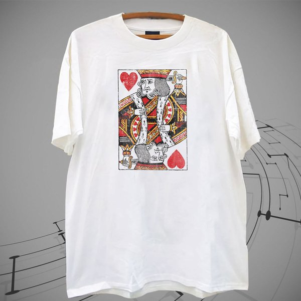 New Lost Gods Distressed King of Hearts White T Shirt Tee XS-2XL colour jurney Print t shirt jurney Print t-shirt Cool