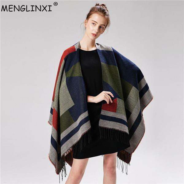 fashion show model poncho classic plaid scarf shawl 2018 womens winter scarf women pashmina cape luxury brand scarves for Ladies