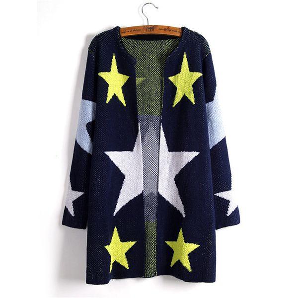 Cardigans Stars Jacquard Long Knitted Sweater Women Long Sleeves O-neck Korean Roupas Feminina