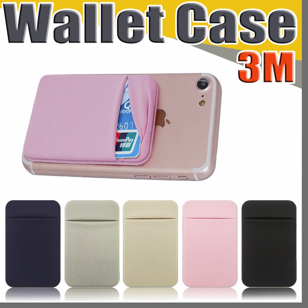 Phone Back Credit Card Holder Stick on Wallet Discreet ID Lycra Spandex Cards Sleeves 3M Adhesive Gadget For iphone ipad cellphone Case