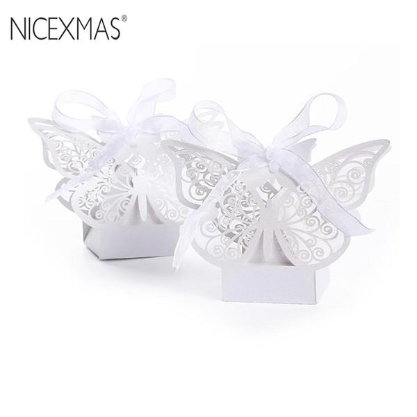 Großhandel 50 stücke Hohl Große Schmetterling Stil Hochzeitsbevorzugung Süßigkeitskästen Laser Hohl Süßigkeiten Schokoladen Taschen Baby Shower Geschenke Taschen