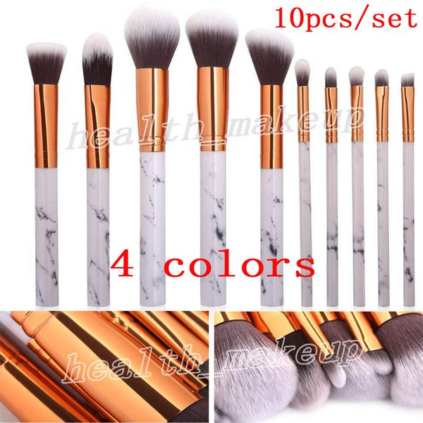 Professional 10 Pcs Sets Marble Making up Brushes Face Eyes Blush Powder Eyebrow Eyeliner Highlight Foundation Make Up Brush Kits DHL Free