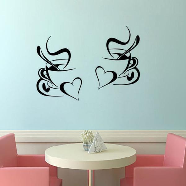autoadesivo della parete della cucina caffè 2pcs tazza di caffè con cuore cucina adesivi murali vinile arte decalcomania 30x20cm