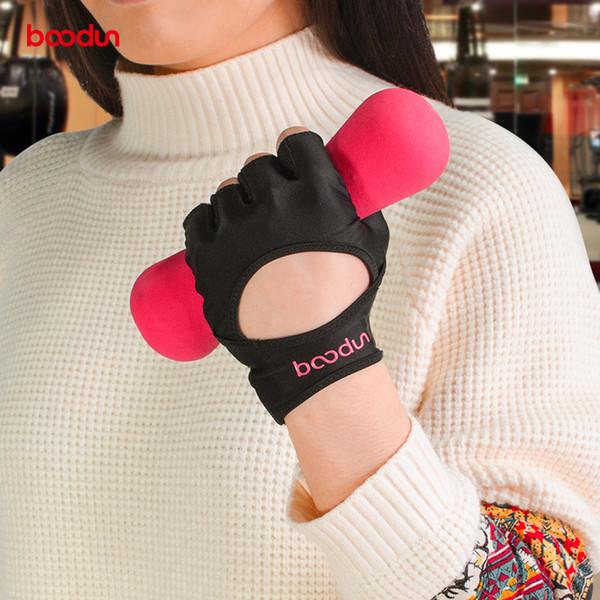 BOODUN Female Gym Gloves Body Building Leather Fitness Fingerless Gloves Mitten Girls Women PU&Lycra Yoga Sport Breathable