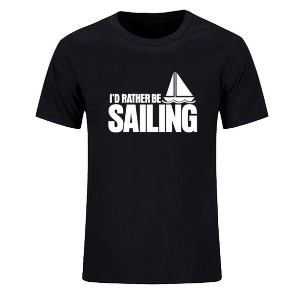 2018 Summer Men Cotton T Shirt Leisure Style Brand Clothing Casual T-shirts Loose Tops Tees Sail Boat Men's T-shirt Plus Size