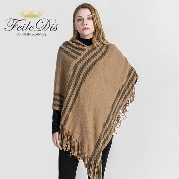 [FEILEDIS] 2019 Haute qualité femmes hiver écharpe de mode couvertures Poncho Cape châle Big Shawl Cachemire à capuche DP2653