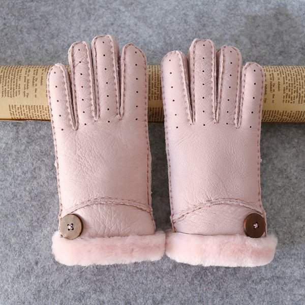 Lady Artificial Leather Wool Warm Winter Glove Outdoors Driving Windproof Retro Button Solid Color Thickening Cotton Gloves 25zq hh