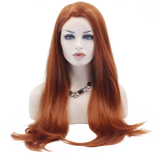 Hot Selling Beautiful Long Natural Straight Synthetic Lace Front Wig Glueless Auburn High Temperature Heat Resistant Fiber Hair Women Wigs