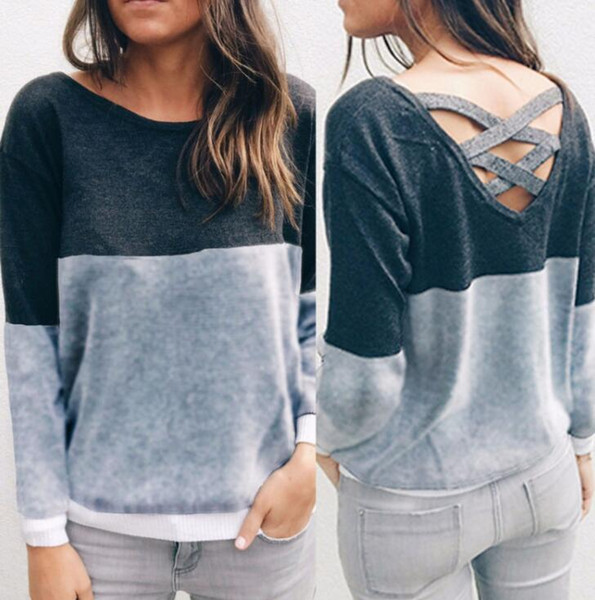 New Autumn Winter Female Reversible Hollow Out Knitted Sweater Pullover Backless Long Sleeve Women Sweaters Outwear
