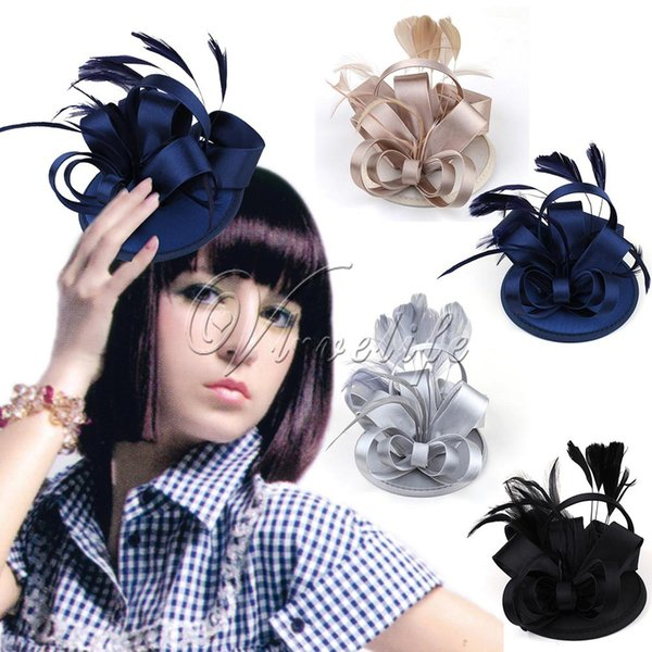 Black/Blue/Champagne/Silver Womens Mini Top Hat Cap Hair Clip With Feather Satin Bow Party Hat Women's Clothing & Accessories